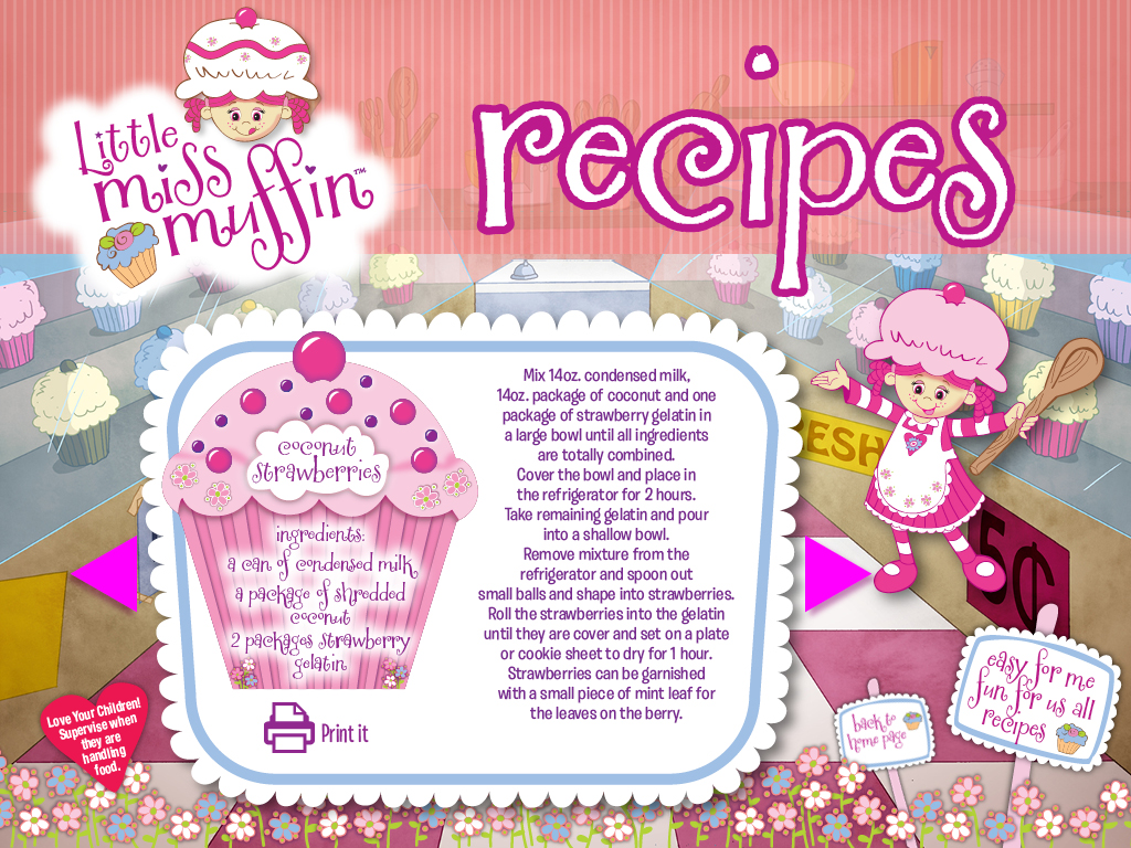 Little Miss Muffin Dolls Coconut Strawberries recipe